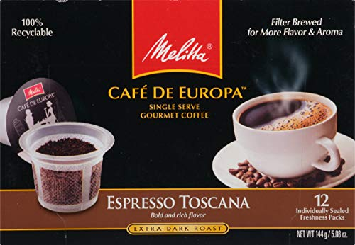 Remo Coffee - Melitta Single Cup Coffee for K-Cup Brewers, Cafe de Europa Espresso Toscana, Extra Dark Roast, 12 Count