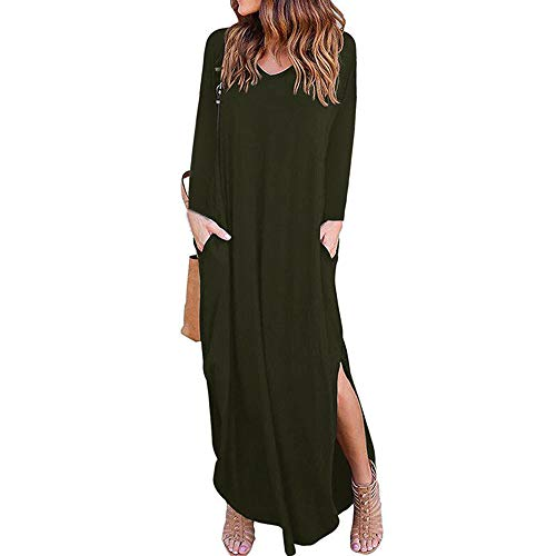 (iPOGP Womens Maxi Dress with Pocket Solid Long Sleeve V-Neck Loose Dress Evening Party Beach Long (Army Green,XL))