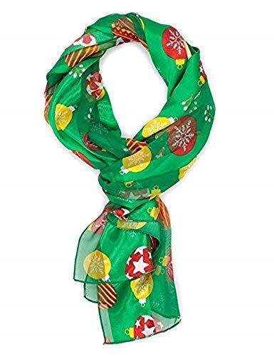 Christmas Scarf - Christmas Jubilee and Ornament Design w/Gift Box By Knitting Factory (Green-OS3019)