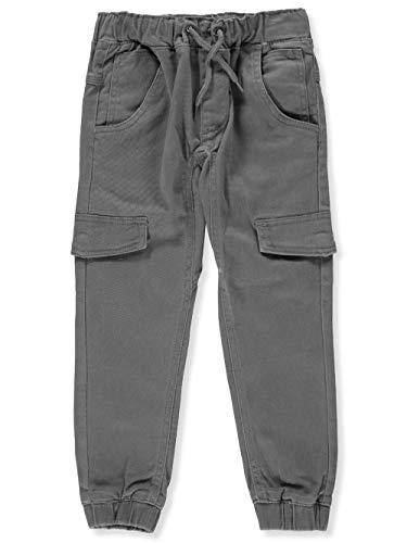 DKNY Boys' Little Twill Cargo Pull-On Jog Pant, Charcoal, 7 (Charcoal Pant Jog)