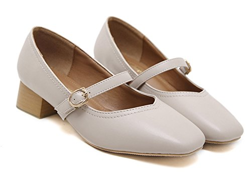 Aisun Women's Vintage Dressy Square Toe Buckled Chunky Low Heel Ankle Strap Mary-Jane Court Shoes apricot detk9