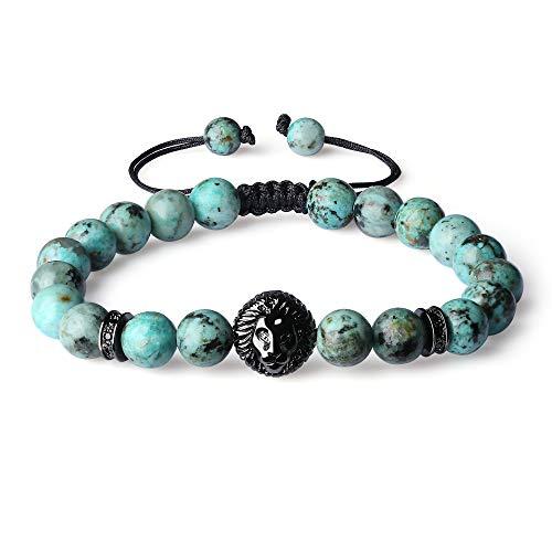 COAI Shamballa Inspired Lion Head Charm African Turquoise Stone Bracelet for Men Women