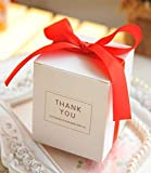 European Simple Atmosphere White Cube Candy Boxes Wedding Party Supplies Gift Packing Box Baby Shown Favors Gift Bag (Red, 50 pcs)