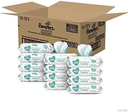 415ctuBMocL. AC - Baby Wipes, Pampers Sensitive Water Based Baby Diaper Wipes, Hypoallergenic And Unscented, 8 Pop-Top Packs With 4 Refill Packs For Dispenser Tub, 864 Total Wipes (Packaging May Vary)