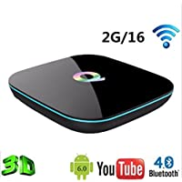 Hindotech Q BOX Android 6.0 Smart TV Box S905X Quad Core support UHD 4K H.265 DLNA Airplay Dual band WiFi BT4.0 Set-top box 2G 16G