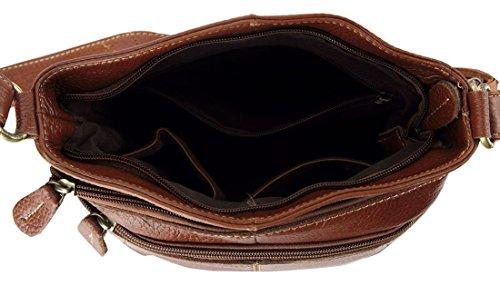 Genuine Handbag Women's Bag Shoulder Simple Vintage Zippered ilishop 2016 Satchel Brown Leather OL HZaxqfqB