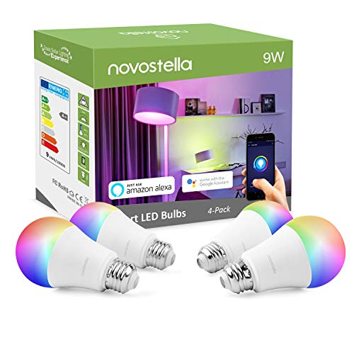 Novostella Smart WiFi LED Light Bulbs, Color Changing Light Bulb Dimmable RGBW 9W (75W Equivalent),Soft White (2700K), Compatible with Alexa, Google Home and IFTTT, No Hub Required (A19 E26, 4 Pack)