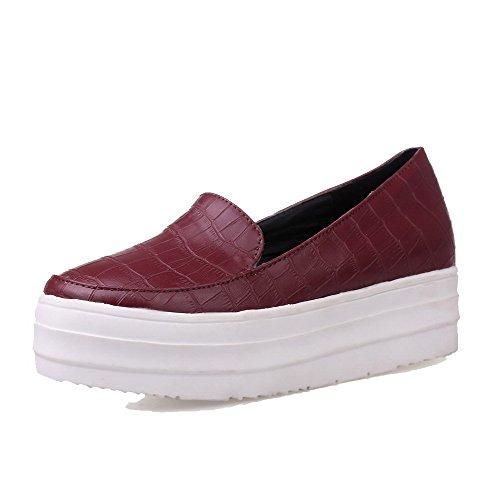 Allhqfashion Chaussures À Lacets Bout Rond Bas Talon Bas Pu Chaussures-chaussures Claret