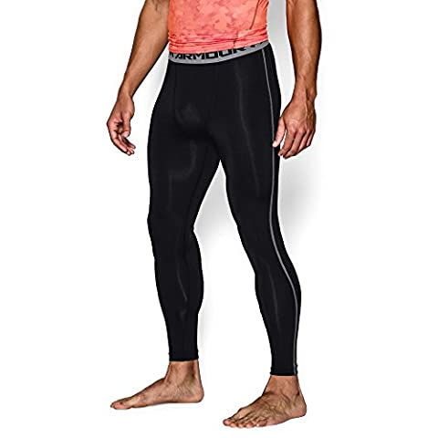 Under Armour Men's HeatGear Armour Compression Leggings, Black/Steel, Large
