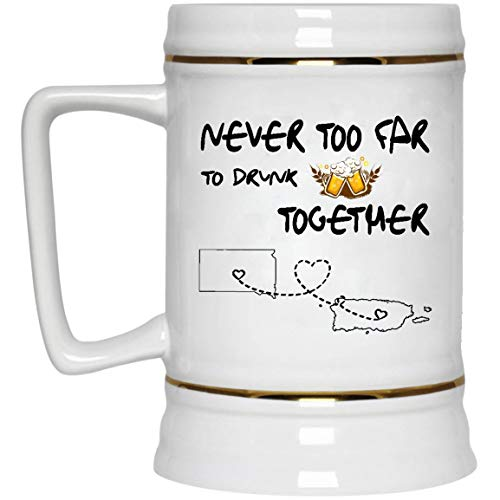 Puerto Rico Wedding - Long Distance Relationships Beer Mug South Dakota Puerto Rico Never Too Far To Drink Beer Wine Together - Love Distance Father's Day Funny Mugs 22 Oz White Ceramic Stein