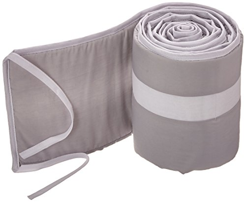 Babykidsbargains Stripe Porta Crib Bumper, Grey/Whtie