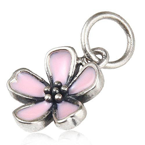 Pink Cherry Flower Blossom Pendant with Enamel 925 Sterling Silver Dangle Charm for European Compatible Bracelet - Cherry Blossom Flower Bead