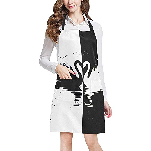 InterestPrint Hipster Black ans White Swan Couple Cool Animal Unisex Adjustable Bib Apron with Pockets for Women Men Girls Chef for Cooking Baking Gardening Crafting, Large Size by InterestPrint