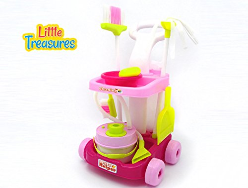 Little Treasures Little Helper 8 piece pretend and play deluxe Cleaning Trolley Playset with working - Deluxe Trolley
