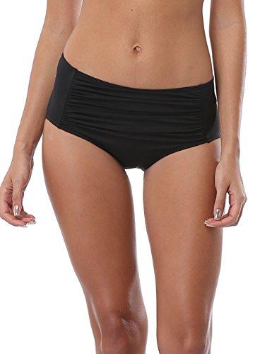 ALove Ladies Ruched High Waist Bikini Bottoms Beach Shorts M (Bikini Shorts Swimwear)