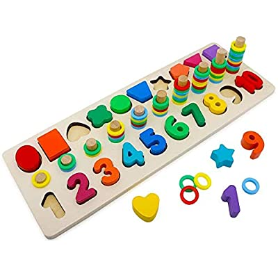 Montessori Math Shapes Puzzle Toys - Toddlers Stacking Wood Blocks Number Toys Stacking Shape Sorting Toys Early Learning Toys for Kids Preschool Counting: Toys & Games