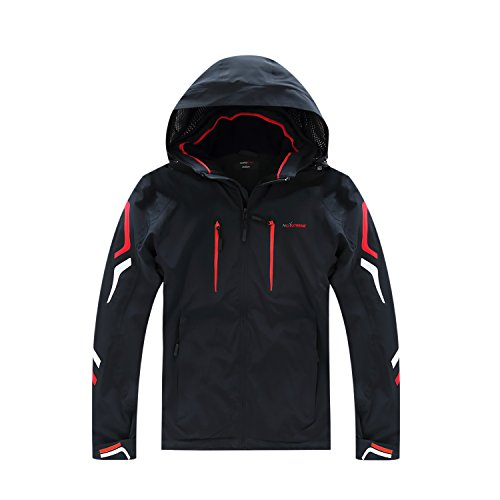 NORDCAP Men's Hooded Mountain Snowboard Ski Jacket - Windproof and Waterproof (Large, Dark Blue)