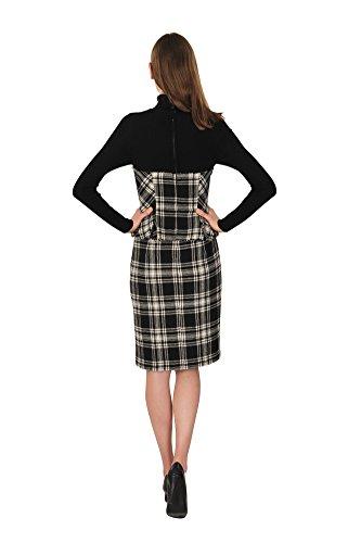 Damen Schwarz Wolle 36 Ermanno Scervino Kleid Kariert UxEE7A0