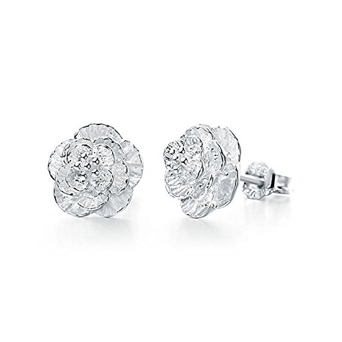 The November Nocturne Silver Plated Women's Romantic Elegant Cherry Blossom of Love Stud Earring (Fake Ice Makeup)
