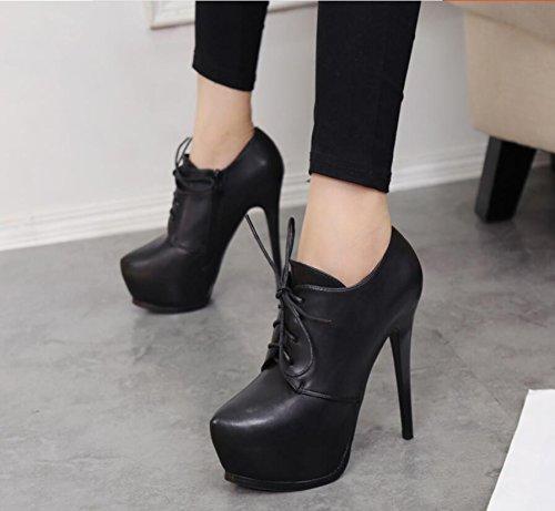 KHSKX 13Cm Sujeción Con 39 Alta Impermeable Negro Desnudo Correa Botas Botas Desglosadas Zapatos Por La De Sexy Taiwán Y rHWaPUnrS