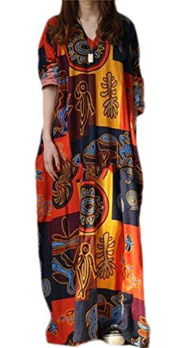 Manica Stampa Domple Da Collo Donna Vestito 1 Casuale Maxi V Tasche Lungo Lunga IUaE8q