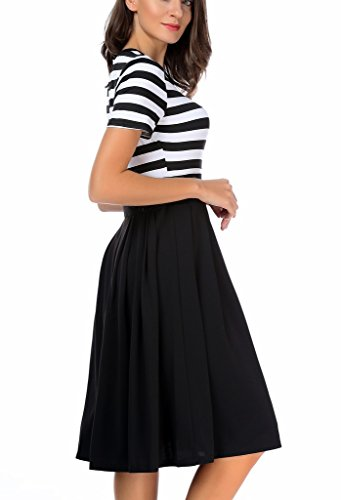 Sleeve AAMILIFE 4 black Casual Dresses Short Modest 3 Neck Long 1 Women's Scoop Stripe Swing qYr1q8f