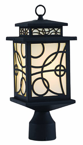 "Park Madison Lighting PMO-977-31 1 Light Cast Aluminum Outdoor Post Head Fixture with Frosted Glass Panels and Black Finish, H=15"" W=6 1/2"""