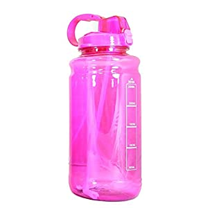 GHP PINK 101oz 3000ml Large Outdoor Water Bottle w/ Handle & Straw - BPA Free Tritan Plastic - Leak Proof Push Button Lid - Eco-Friendly for Gym, Yoga, Camping, Running, Outdoors, Cycling, and Camping