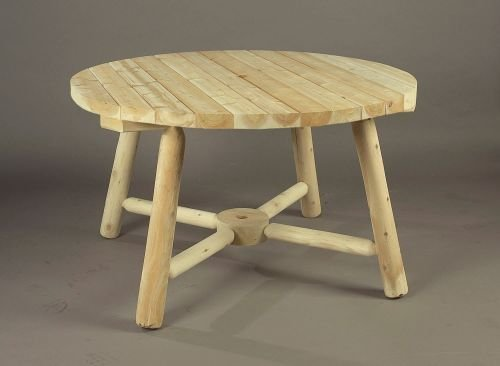 Rustic Natural Cedar Furniture 4′ Round Umbrella Table (28″ H) – 2016 Design
