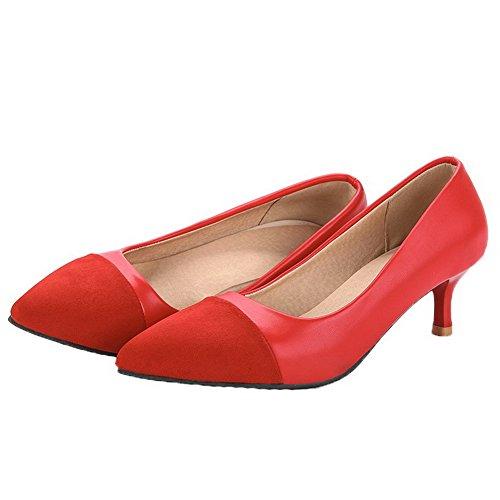 Pointu Légeres Cuir Correct Mélangées Femme Rouge Chaussures à VogueZone009 Tire Couleurs Talon PU wqfPFg1I