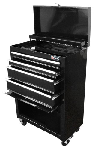 Excel TB2201X-Black 22-Inch Steel Chest Roller Cabinet Combination, Black (Toolbox Drawer Pull compare prices)