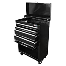 Excel International TB2201X-Black 22-Inch Steel Chest Roller Cabinet Combination, Black