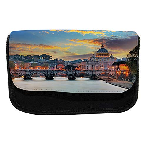 Ambesonne Italy Pencil Case, View of Vatican Rome, Fabric Pen Pencil Bag with Double Zipper, 8.5
