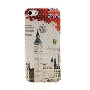 GDW Bandera de Reino Unido y el Big Ben Diseño Efecto Diamante superficie de plástico duro caso para iPhone 5/5S
