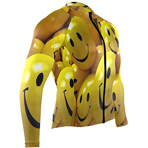 (Emoji Face Wallpaper Mens Cycling Jersey Shirts Long Sleeve Road Bicycle Apparel Outfit)