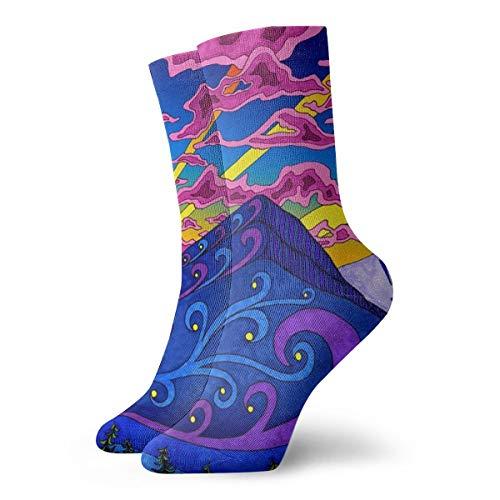 Unisex Fun Dress Socks - Colorful Funky Socks - Psychedelic Trippy Pattern Socks