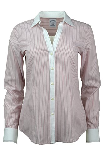 Brooks Brothers Womens Striped Non-Iron Contrast Stitch V-Neck Button Down Shirt Red/White (8)