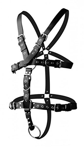 Gift Set of Strict Leather Body Harness with Cock Ring M/L and a Bottle of ID Glide 4.4 oz Flip Cap Bottle by XR Brands (Image #2)