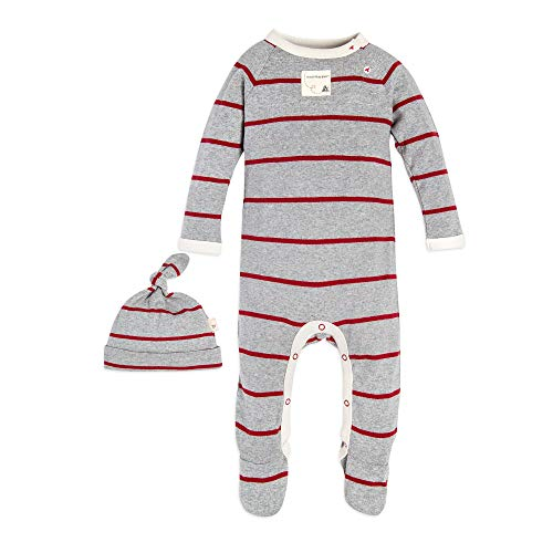 Burt's Bees Baby Baby Romper and Hat, One Piece Jumpsuit and Beanie Set, 100% Organic Cotton, Grey/Cranberry Stripe, 6-9 Months