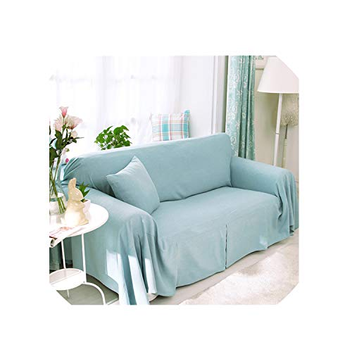 Single/Two/Three/Four Seater Solid Sofa Cover Cotton Slip Resistant Sofa Slipcover Couch Cover Living Room Sofa Towel Home Decor,No 4,300X180Cm