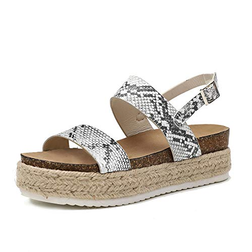 Athlefit Women's Summer Espadrille Flatform Sandals Band Open Toe Cork Wedge Sandals Size 8.5 Python ()