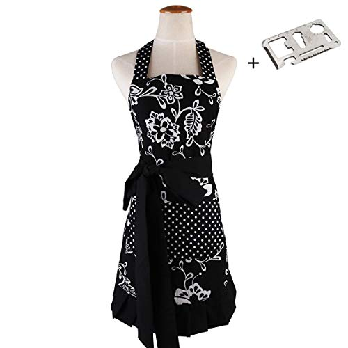 Aprons for Women with Pockets,Extra-Long Tie,Home Baking Gardening or Kitchen Cooking Bib,Graceful and Flirty Retro Cute Cotton Plus Size Apron 29 x 21Inch(Black)JIURUN