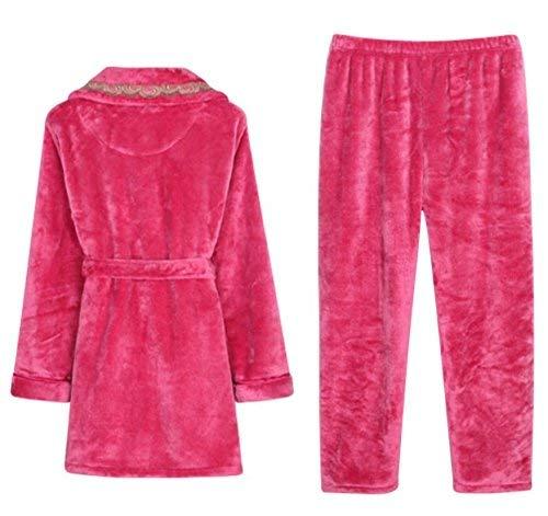 Noche T Ocio Tallas Cálido Piezas Red Dormir Espesar De Fashionista Dos Pijamas Ropa Para Rose Larga Grandes Coral Pijama Mujer Xz6APw