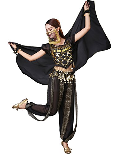 Astage Lady Belly Dancer Costume Halloweem Performance Wear Black All Sets