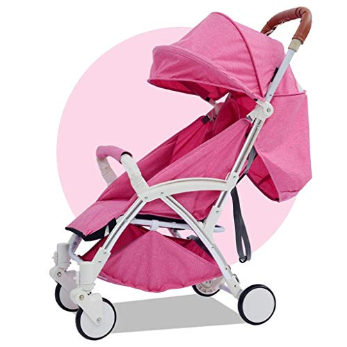 Zsail Lightweight Baby Stroller High View Foldable Infant Pram Travel System Carriage with Retractable Tie Rod All in One for 0-3 Years Old Boys Girls (Color : Red)