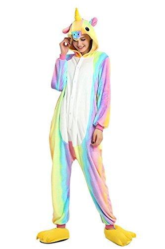 Tickos Rainbow Unicorn Pajamas Halloween Cosplay Costumes Pegasus Adult Christmas Sleepwear Party Animal Jumpsuits (Small, Rainbow1) ()