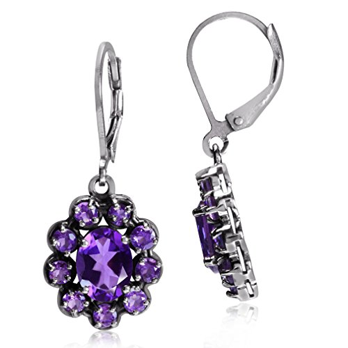 (2.8ct. Natural African Amethyst 925 Sterling Silver Flower Cluster Leverback Earrings)