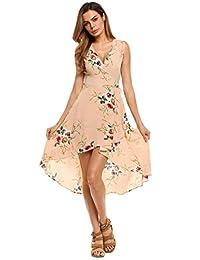 Zeagoo Women's V-Neck Sleeveless Hi Low Dress Floral Print A Line Midi Dress