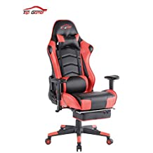 [UPDATED VERSION]Top Gamer PC Racing Gaming Chair Computer Video Game Chairs with Footrest(Red/Black)