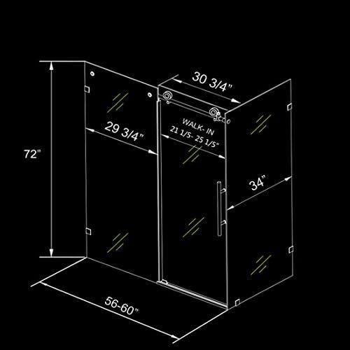 ELEGANT 60 W x 34 D x 72 H Frameless Sliding Shower Enclosure with 3 8 Clear Glass, Brushed Stainless Steel Bathroom Sliding Shower Door